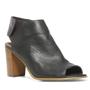 Open toe black leather boots